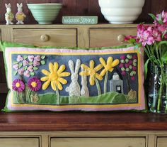 Spring pillow-Sunflower Fields Pattern Company