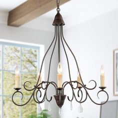 KSANA Farmhouse Chandelier,Candel Chandelier for Dining Rooms,5 Lights Rustic Chandelier with Crystal Pendant in Rust Finished