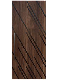 ASCENT A custom door design with steel inlays embedded in a select wood panel create a work of stunning visual art. House Main Door Design, Flush Door Design, Main Entrance Door Design, Wooden Front Door Design, Bedroom Door Design, Door Design Interior, Latest Door Designs, Decoration Buffet, Modern Wooden Doors