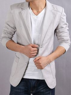 men's blazer jacket cream color - Click on image to visit www.pooz.com