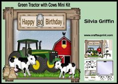 Green Tractor with Cows Birthday MK on Craftsuprint - Add To Basket!