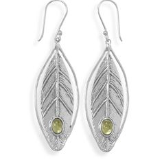 Leaf design earrings with peridot