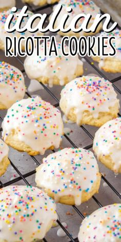 Fluffy and oh so tasty, this Italian Ricotta Cookies Recipe is one you'll treasure for years! Topped with vanilla glaze, these cookies just beg to be eaten! #BreadBoozeBacon #cookies #ricotta #ricottacheese #italianfood #dessert #christmas #easter Italian Christmas Cookie Recipes, Italian Cookie Recipes, Christmas Cooking, Holiday Desserts, Italian Desserts, Holiday Cookies, Christmas Recipes, Italian Ricotta Cookies, Ricotta Dessert