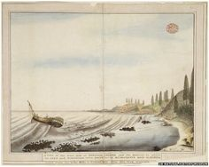HMS Sirius lies wrecked in Turtle Bay. By an unknown Port Jackson Painter, c. 1790.