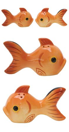 You won't want to interrupt this pair of smitten goldfish as they attempt to lock lips, but occasionally your dish needs a dash of seasoning. Go ahead and shake; the Kissy Face Salt & Pepper Shakers wi...  Find the 2-Pc Kissy Face Salt & Pepper Shakers, as seen in the The Wonderfully Weird 70s Collection at http://dotandbo.com/collections/the-wonderfully-weird-70s?utm_source=pinterest&utm_medium=organic&db_sku=114222