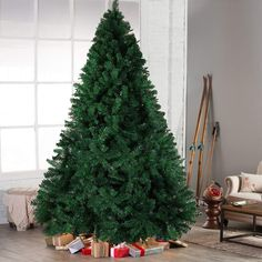 7212d4886ba Hilai 6ft Artificial Christmas Tree Unlit Pine Tree with Solid Metal Stand  Fluffy Xmas Tree 1000