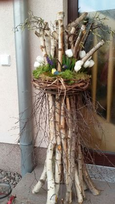 deco-the spring-easter-Behiye- deko-fruhjahr-ostern-behiye deco-spring-easter-behiye – – - Diy Easter Decorations, Christmas Decorations, Wedding Decorations, Diy Osterschmuck, Easy Diy, Twig Art, Deco Champetre, Deco Nature, Deco Floral