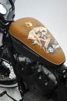 harley davidson motorcycle, custom airbrush