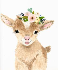 Watercolor Baby Goat Baby Goat Print Baby Goat Art Farm Animal Art Nursery A Goat Paintings, Animal Paintings, Farm Animal Nursery, Nursery Art, Babies Nursery, Girl Nursery, Girl Room, Baby Animal Drawings, Cute Drawings