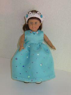 Princess dress for mini American Girl Dolls aqua yellow purple coral party prom ballgown 6.5 in. dolls or similar built dolls creative play by DreamyDoll on Etsy