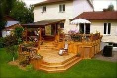 Like the two levels but I would do a pergola