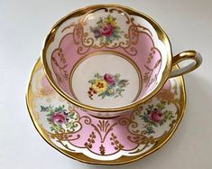 Antique Vintage Decor Vintage china tea cup and saucer, made by Salisbury in England. A pink and white ground, with gold gilt decoration. Vintage China, Vintage Dishes, Vintage Teacups, Paludarium, China Tea Cups, Tea Service, Tea Cup Saucer, Dinnerware, Tea Party