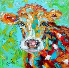Original oil painting Cow Portrait farm animal by Karensfineart