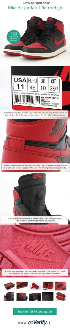 detailed look 719c2 8d752 How to spot fake Nike Air Jordan 1 Retro s, go to www.goverify.