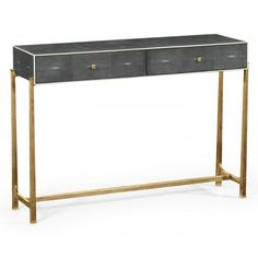 Buy Grey Art Deco Leather Console Table | Swanky Interiors