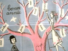 A delightful design with a couple picking months of the year off of a tree...Bonne Annee (Happy New Year).    Measures 10 square - EXCELLENT condition