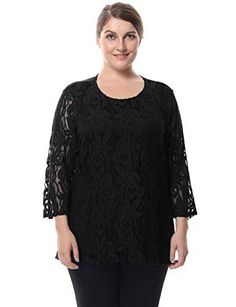 a6d6eaedcc5b3 Chicwe Womens Plus Size Lined Lace Top Blouse Round Neck 3 4 Sleeves Work  and