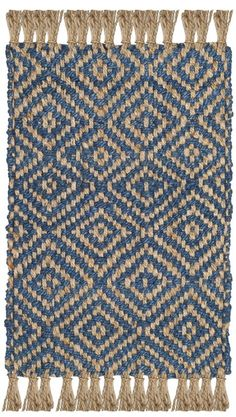 Rug - Natural Fiber Area Rugs by Safavieh Weaving Loom Diy, Hand Weaving, Natural Carpet, Area Rugs For Sale, Natural Fiber Rugs, Entryway Rug, Textiles, Rugs In Living Room, Blue Area Rugs