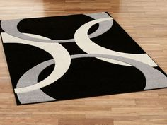 Contemporary Black And White Area Rug