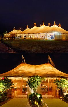 How chic are these wedding tents when illuminated in a warm orange hue?