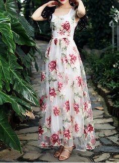Vestidos Poliéster Floral Hasta los tobillos Sin mangas (1018523) @ floryday.com