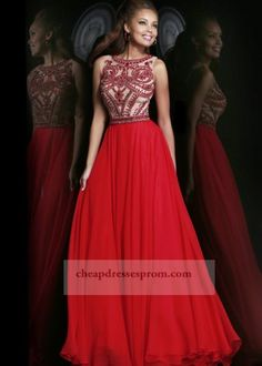 Long Red Beaded High Neck Prom Dresses 2014