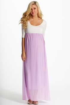 With a vibrant hue and gorgeous chiffon accent, this colorblock ¾ sleeve maxi dress is the perfect staple for your spring to summer wardrobe.