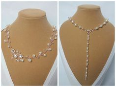 Rose Gold Pearl Necklace Rose Gold Backdrop Necklace Rose