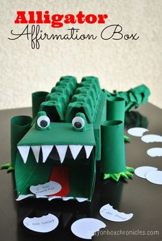 Alligator Affirmation Box - Showing Kids Love by Crayon Box Chronicles. Box is made from tissue boxes, paper towel rolls, and egg cartons. (This would be a cute Valentine box for Boys) Valentine Boxes For School, Kinder Valentines, Valentines For Boys, My Funny Valentine, Valentine Day Crafts, Holiday Crafts, Holiday Fun, Printable Valentine, Homemade Valentines