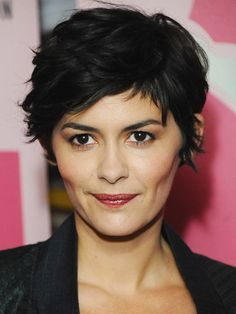 Audrey Tautou textured pixie short haircut Ask your stylist to cut it an inch longer than the classic style, with the sides and back slightly shorter than the top. Don't be surprised if he decides to cut it dry. The curls will be more free-flowing and sculpted, instead of having hard, thick lines.