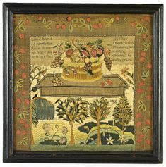 Hannah Carlile - probably Mary Balch's School - Providence, Rhode Island - 1796. Silk on linen. Betty Ring collection. Sold for 122,500 USD