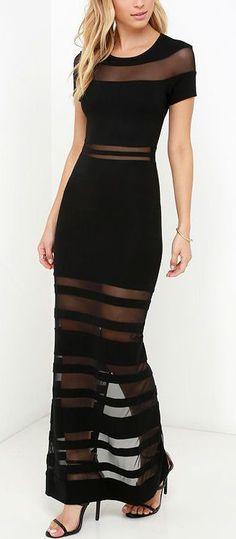 Sheer Stripe Black Maxi Dress