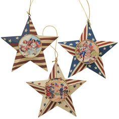 Liberty Star of July Ornaments Bethany Lowe Bethany Lowe, Happy Memorial Day, Star Ornament, Paper Clay, God Bless America, Red White Blue, Vintage Images, Fourth Of July, Liberty