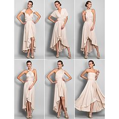 Sheath/Column Asymmetrical Jersey Convertible Dress (633752) – USD $ 89.69