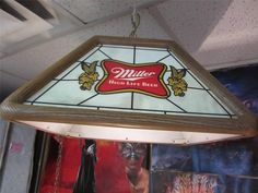 Vintage Miller High Life Beer Hanging Pool Table Bar Light Lady On The Moon  1984
