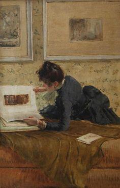 Giuseppe De Nittis - Femme feuilletant un livre d'eaux-fortes Woman looking through a book of watercolors ..