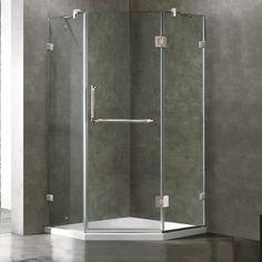 VIGO Frameless Neo-Angle Clear Glass Shower Enclosure with Low-Profile Base |