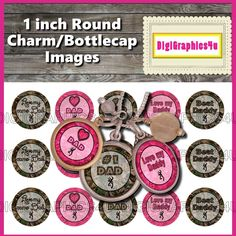 Father's Day Camo Daddy 1 inch Bottle Cap Images for Hairbows, Bracelets, Jewelry, Keychains, Cupcake Toppers and More by DigiGraphics4u on Etsy