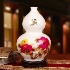 Jingdezhen cerámica fábrica venta al por mayor peonía blanca tallo de la flor florero de la calabaza modernas artesanía decoración de moda(China (Mainland))