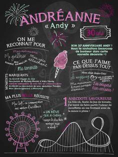 Affiche personnalisée anniversaire pour adulte Folle des manèges | 35,00$ #chalkboard #lacraieco