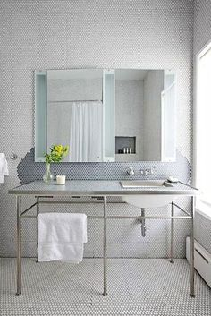 Lucky Penny Tile Inspiration By Apartment Therapy Guest Bath Balineum Metal Washstand Marble Top