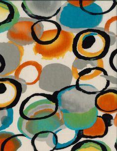 Fashion Knit Fabric- Circles Multi Slub Orange & Green, , hi-res