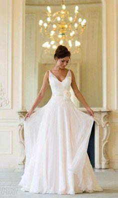 Simple V-neck Chiffon Wedding Dress for Older Brides Over 40, 50, 60, 70. Elegant Second Wedding Dress Ideas.