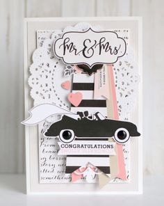"""card car wedding marriage mr & mrs Echo Park """"Wedding Bliss"""" paper collection CHA Projects"""