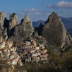 The small town of Castelmezzano in Basilicata, Italy.