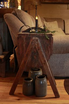 *antique churn used as a side table