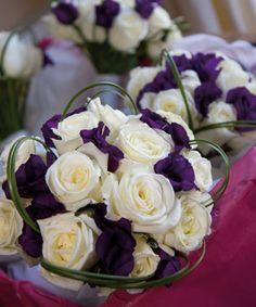 white Akito roses and purple lisianthus