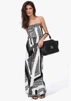 Geo Maxi Dress in Black/White