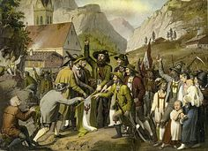 Fight for Tyrolean Independence against Bavarian rule and Napoleon Andreas Hofer making an oath From painting of 1809 Tirolean innkeeper and patriot. Army Uniform, Napoleon, Hungary, Austria, Window, Culture, History, Painting, Ideas