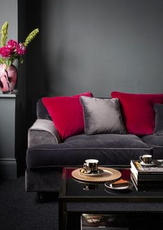 Future living room gray red and creamyes please Ideias de